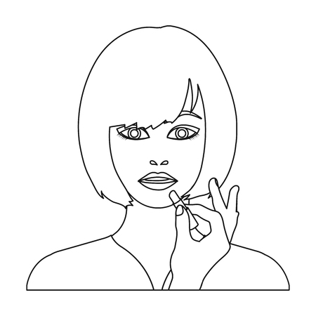 brown haired girl: Girl, single icon in outline style.Girl vector symbol stock illustration web.