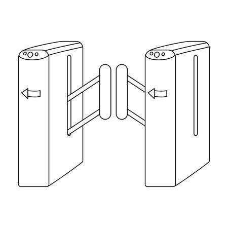 Turnstile, single icon in outline style.Turnstile vector symbol stock illustration web. Illustration