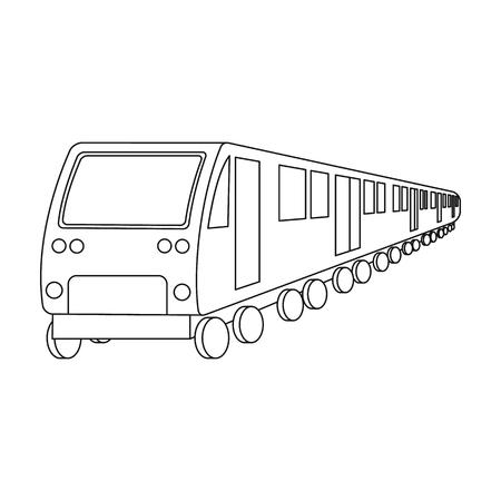 Train, single icon in outline style.Train, vector symbol stock illustration web.