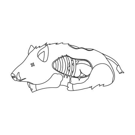 Boar single icon in outline style.Boar, vector symbol stock illustration web.