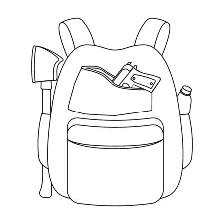 Backpack, single icon in outline style.Backpack, vector symbol stock illustration web.