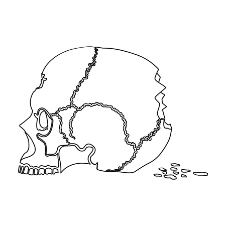 Skull single icon in outline style.Skull, vector symbol stock illustration web. Illustration