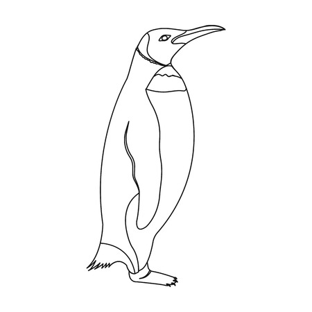 Penguin, flightless sea bird. The Imperial Penguin single icon in outline style vector symbol stock illustration web.