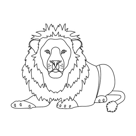 A lion, a wild and ferocious predator. Leo, the king of beasts single icon in outline style vector symbol stock illustration web.
