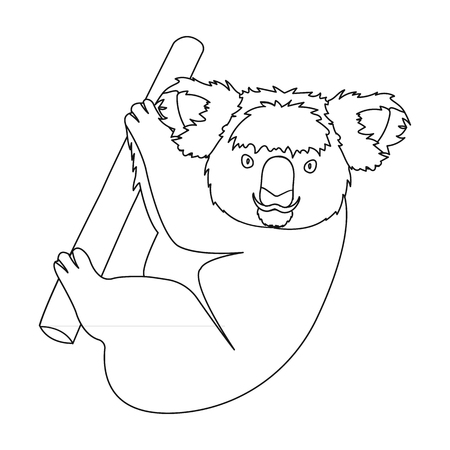 Kuala, marsupial bear on a branch of eucalyptus. Wild mammal of koala single icon in outline style vector symbol stock illustration web.