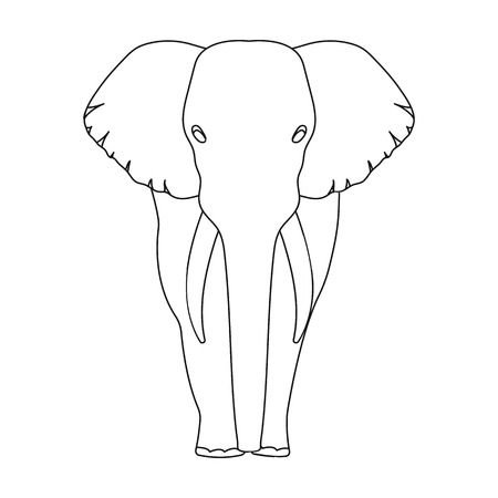 squad: The elephant, the biggest wild animal. African elephant with tusks single icon in outline style vector symbol stock illustration web.