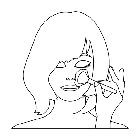 brown haired girl: Hairstyle single icon in outline style.Hairstyle vector symbol stock illustration web.
