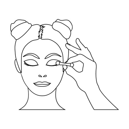 Makeup, single icon in outline style. Makeup, vector symbol stock illustration web.