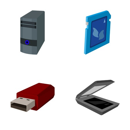 A system unit, a flash drive, a scanner and a SD card. Personal computer set collection icons in cartoon style vector symbol stock illustration .