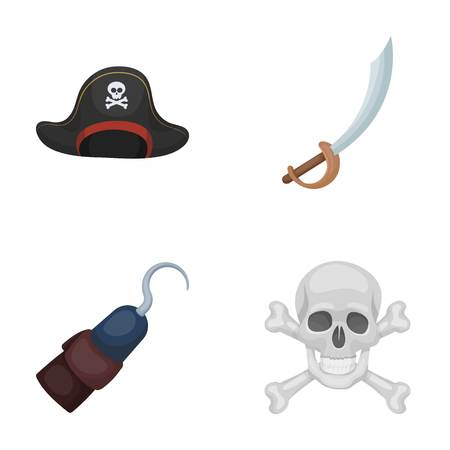 Pirate, bandit, cap, hook .Pirates set collection icons in cartoon style vector symbol stock illustration . Stok Fotoğraf - 86315782
