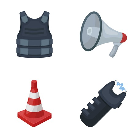 Bulletproof vest, megaphone, cone of fencing, electric shock. Police set collection icons in cartoon style vector symbol stock illustration .