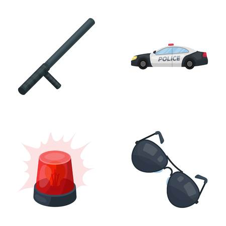 Police baton, auto, flasher, glasses.Police set collection icons in cartoon style vector symbol stock illustration . Иллюстрация