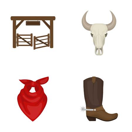 Gates, a bulls skull, a scarf around his neck, boots with spurs. Rodeo set collection icons in cartoon style vector symbol stock illustration . Illustration