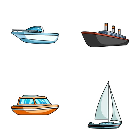 Protection boat, lifeboat, cargo steamer, sports yacht.Ships and water transport set collection icons in cartoon style vector symbol stock illustration .