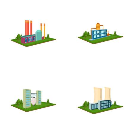 Processing factory,metallurgical plant. Factory and industry set collection icons in cartoon style isometric vector symbol stock illustration .