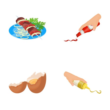 Shish kebab with vegetables, ketchup and mustard, seasoning for food, broken egg. Food and Cooking set collection icons in cartoon style vector symbol stock illustration .