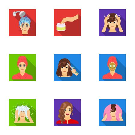 brown haired girl: Salon, bathroom, hygiene and other  icon in flat style. Shampoo, hairdresser, cosmetic, icons in set collection. Illustration