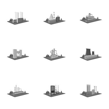 Verwerking fabriek, metallurgische installaties en andere productie. Fabriek en industrie set collectie iconen in zwart-wit stijl isometrische vector symbool stock illustratie Vector Illustratie