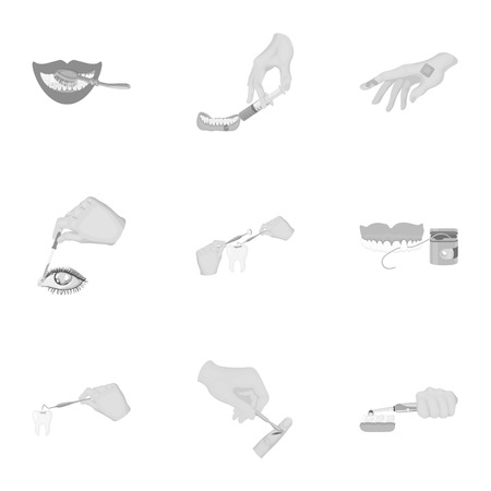 Anesthetic injection, examination of the tooth and other web icon in monochrome style. wound treatment, vision check icons in set collection.