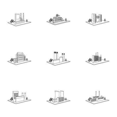 Processing fabriek, metallurgische fabriek en andere productie. Vector Illustratie