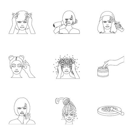 brown haired girl: Salon, bathroom, hygiene and other  icon in outline style. Shampoo, hairdresser, cosmetic, icons in set collection.
