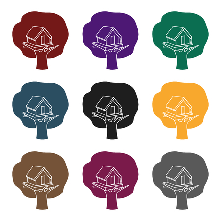 front or back yard: Tree house icon in black style isolated on white . Play garden symbol stock illustration.
