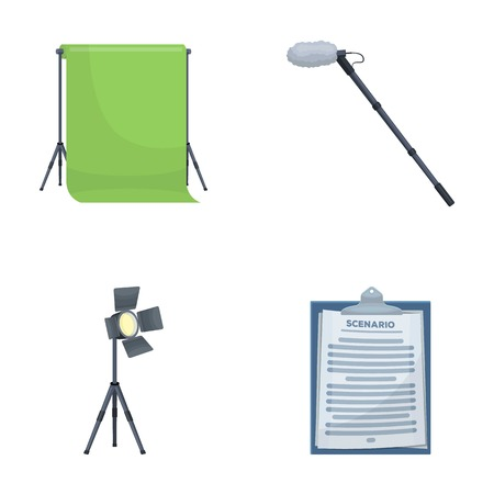 Making movies set collection icons in cartoon style