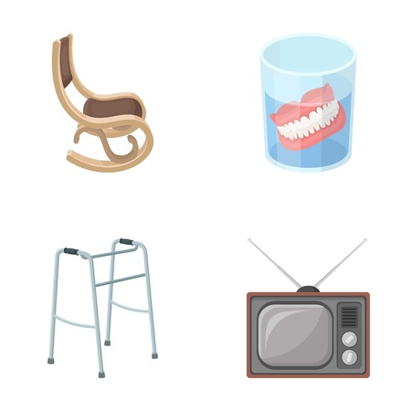 Denture, rocking chair, walker, old TV.