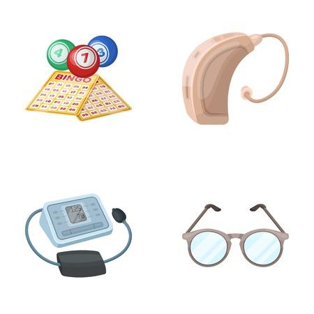 복권, 보청기, 혈압계, 안경. 일러스트