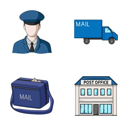 The postman in uniform, mail machine, bag for correspondence, postal office.