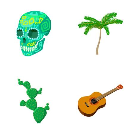 Green skull with a picture, a palm tree, a guitar, a national Mexican instrument, a cactus with spines. Mexico country set collection icons in cartoon style vector symbol stock illustration .