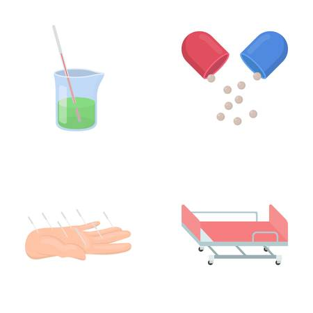 Solution, tablet, acupuncture, hospital gurney.Medicine set collection icons in cartoon style vector symbol stock illustration web.