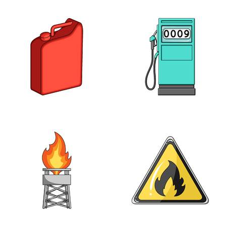 Canister for gasoline, gas station, tower, warning sign. Oil set collection icons in cartoon style vector symbol stock illustration .