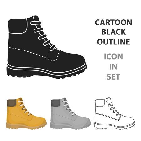 Icono de botas de senderismo en estilo de dibujos animados aislado sobre fondo blanco. Ilustración de vector de símbolo de zapatos.