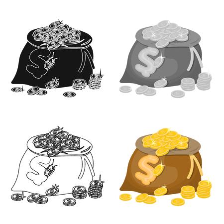 Sack, single icon in cartoon style.Sack, vector symbol stock illustration web. Illustration