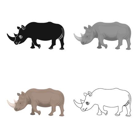 大規模なインドのサイ。野生動物、漫画スタイルのベクトル シンボル ストック イラストのサイの 1 つのアイコン。 写真素材 - 86635339