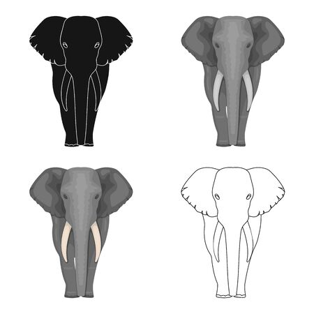 squad: The elephant, the biggest wild animal. African elephant with tusks single icon in cartoon style vector symbol stock illustration .