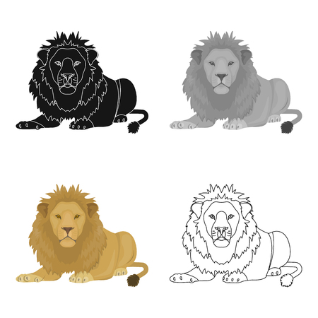 A lion, a wild and ferocious predator. Leo, the king of beasts single icon in cartoon style vector symbol stock illustration . Ilustrace