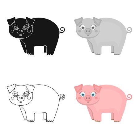 Piglet, single icon in cartoon style.Piglet vector symbol stock illustration .