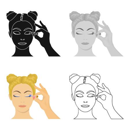 Makeup, single icon in cartoon style. Makeup, vector symbol stock illustration .