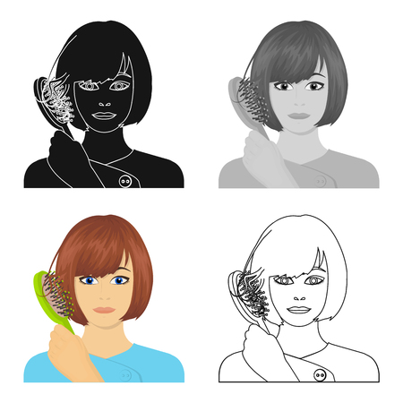 brown haired girl: Hair, single icon in cartoon style.Hair, vector symbol stock illustration .