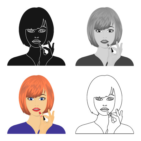 brown haired girl: Girl, single icon in cartoon style.Girl vector symbol stock illustration .