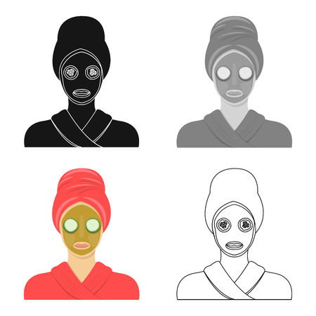 Girl with facial mask in cartoon style.