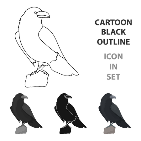 Crow of viking god icon in cartoon style isolated on white background. Vikings symbol stock vector illustration.