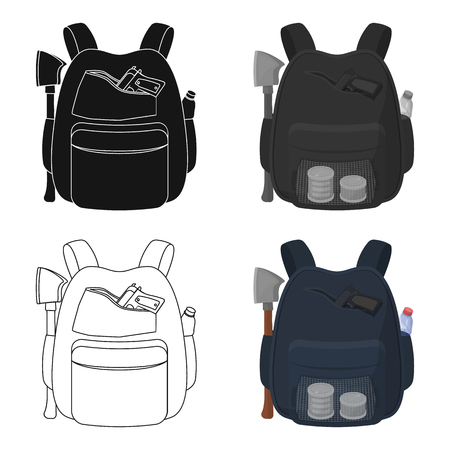 Backpack, single icon in cartoon style. Backpack, vector symbol stock illustration web. Illustration