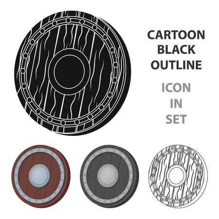 Viking shield icon in cartoon style isolated on white background. Vikings symbol stock vector illustration.