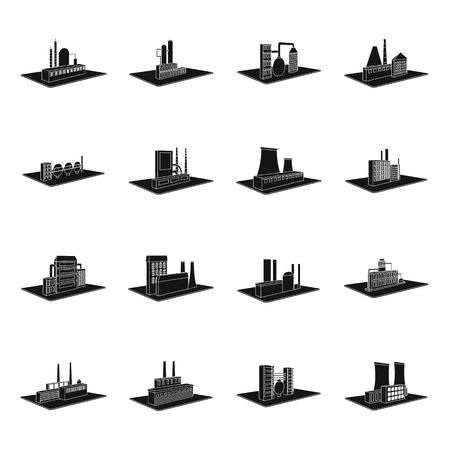 Verwerking fabriek, metallurgische installaties en andere productie. Fabriek en industrie vastgestelde inzamelingspictogrammen in het zwarte Web van de de voorraadillustratie van het stijl isometrische vectorsymbool.