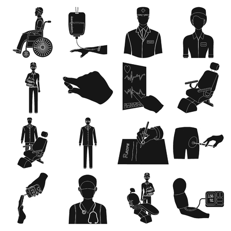 diabetes syringe: Injured in a stroller, blood transfusion, blood sugar test, doctor, medical staff. Medicine set collection icons in black style vector symbol stock illustration web.