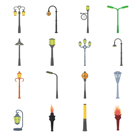 Lamppost in retro style,modern lantern, torch and other types of streetlights. Lamppost set collection icons in cartoon style vector symbol stock illustration .