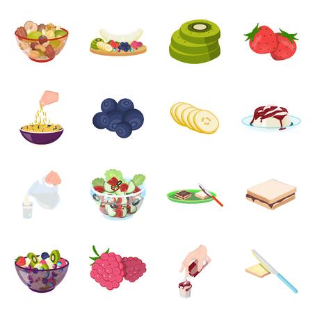 Fruit, dessert, sandwiches en andere soorten voedsel. Pictogrammen van de voedsel de vastgestelde inzameling in illustratie van de het symboolvoorraad van de beeldverhaalstijl de vector.